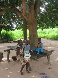 029_Casamance  Maison typique (en banco)  21 de 21  Les Enfants jouant à l'extérieur et la Plate-forme pour se reposer (sous l'arbre)
