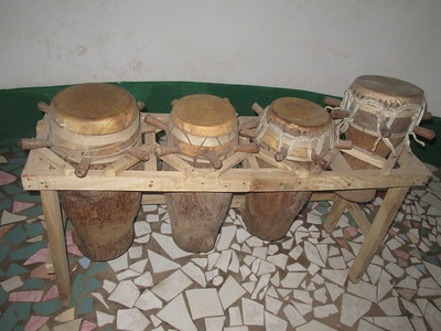 023_Kachically Museum  Drumming is a major components of gathering The Mandrika uses 3 drums, whereas Wollof and Jola use 4 drums