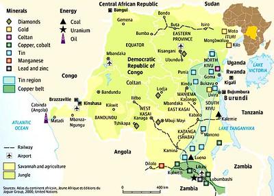 005_RDC  Le Kivu, Haute densité de population  Ressources minières abondantes  Zone de guerre