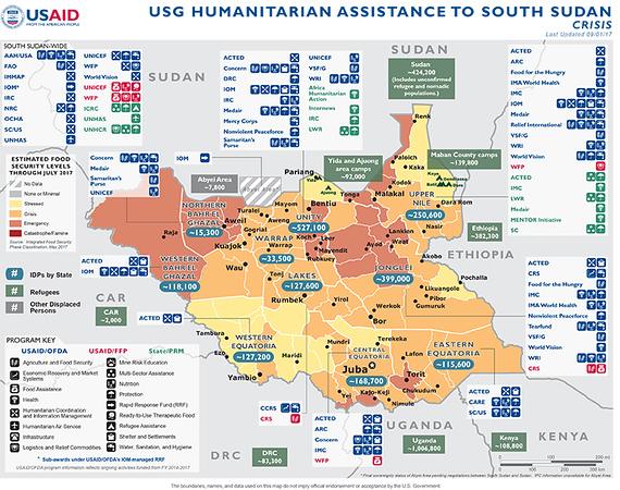 09.01.17 - USG Humanitarian Assistance to South Sudan - Crisis - Map