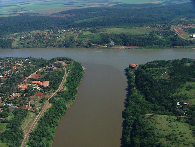 03 Iguacu Falls, CD Helicopter Tour, Landmark of the Three Frontiers