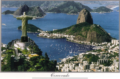 001 Rio De Janeiro, Air View of the Corcovado Hill with Pao de Acucar background