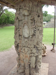 127  Copan Ruins  The Grand Plaza  Stela N and Altar  761 A D