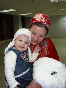 017_Ashgabat Airport  Mother and Daughter