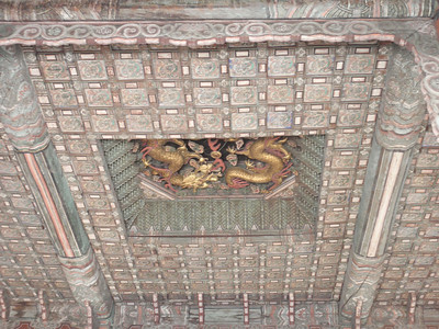 026_Seoul City  Deoksugung Palace  Junghwajeon  Main throne hall  Ceiling, carved dragons jpg