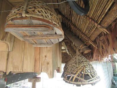 727_Bangaan Village and Rice Terraces  Ifugao Native House  Hang the Chicken Boxes at night