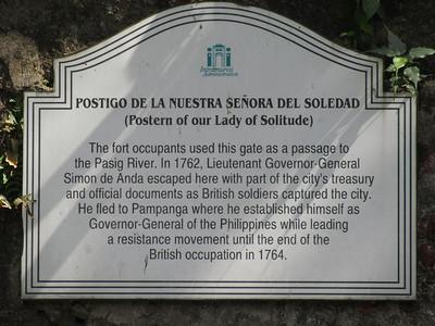 040_Manila  Fort Santiago  Postigo De La Nuestra Senora Del Soledad  A passage to the Pasig River