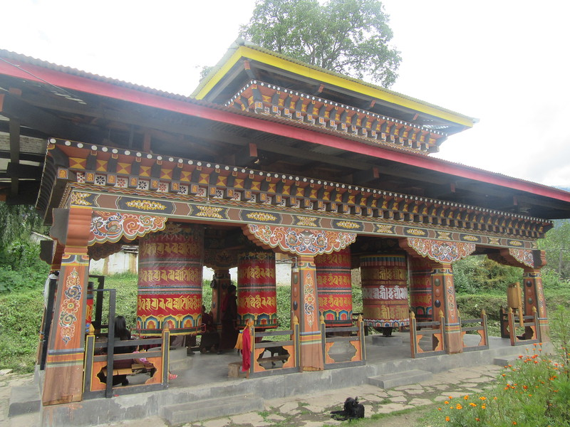 090_Upper Paro Valley  Kyichu Lhakhang  The outside grounds hum with prayers and spinning prayers wheels