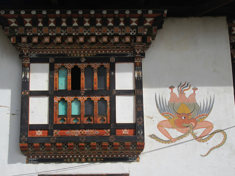 365_Gakiling Guest House  Traditional Bhutanese House  The protective Garuda (griffon), with snake in its mouth