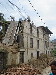 037_Bungamati  Aftermath of the April 2015 Earthquake  Crumbled because the addition of a top floor, was made out of concrete (too heavy)
