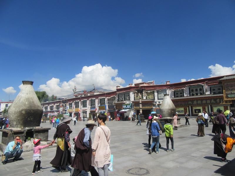211_Lhasa  Old Town  Barkhor Square  Two pot-bellied, stone ¨sankang¨ (incense burner)