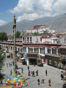 240_Lhasa  Old Town  Barkhor Square and The Potala Palace  View from the Jokhang Temple