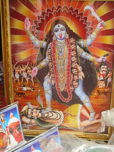 062_Southern Kolkata  Kali  Commonly depicted with dark skin, dripping with blood, and wearing a necklace of skulls