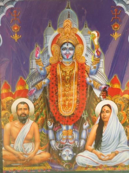 136_Kolkata   Kali surrounded by Sri Ramakrishna and Sri Sarada Devi (his wife)