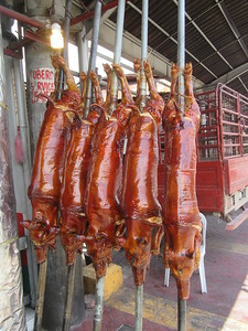 016_Manila  La Loma District  Lots of placer roasting suckling pigs  $160 US per Roasted Pig
