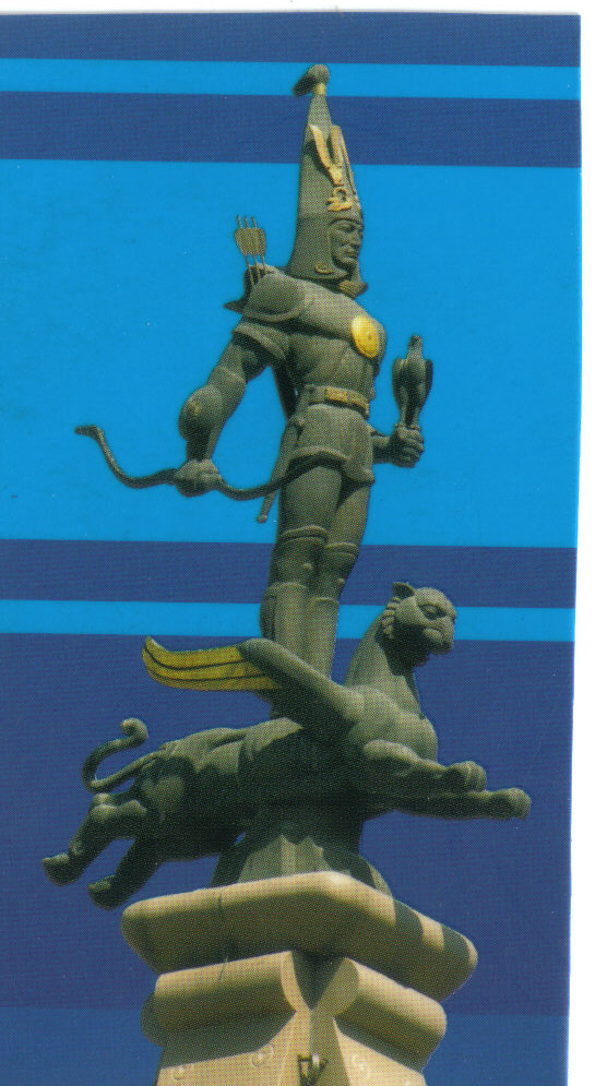 17_Mon  to Independance  Golden Man standing on a winged snow leopard