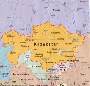 02_Kazakstan Map  Almost as large as all of Western Europe