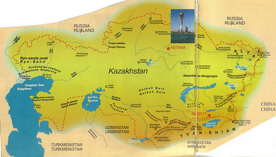 03_Kazakhstan Map  The arid steppe covers one third of the country