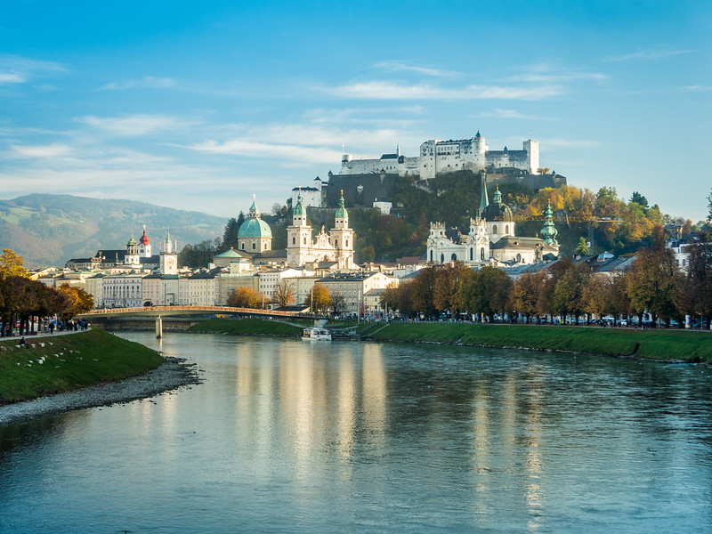 Salzburg Reflected in the Salzach, Austria