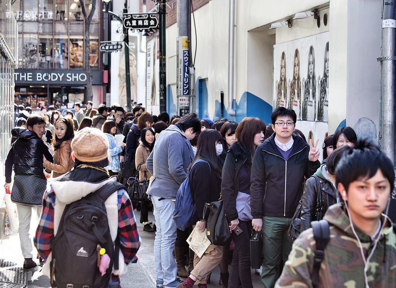 Queue for a cafe, Harajuku. Gotta love the guy on the right!