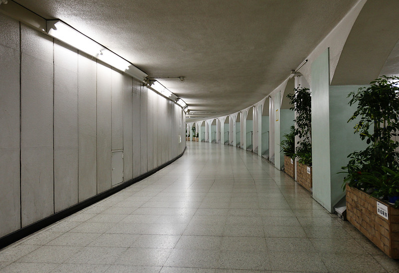 Tunnel between platforms, Ueno subway