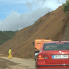 A man-made landslide to widen the road