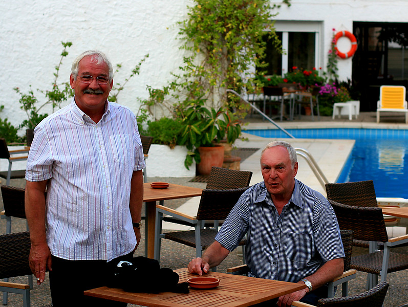 Two Johns and a Horace by the pool