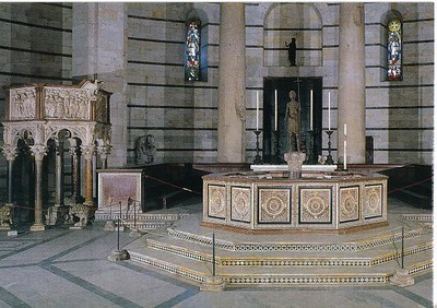0816_Tuscany_Pisa_The_Baptistery_Pulpit_and_Baptismal_Font