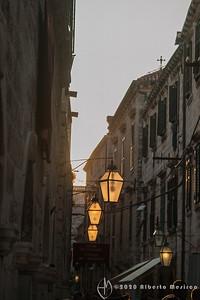 sunlset through lanterns