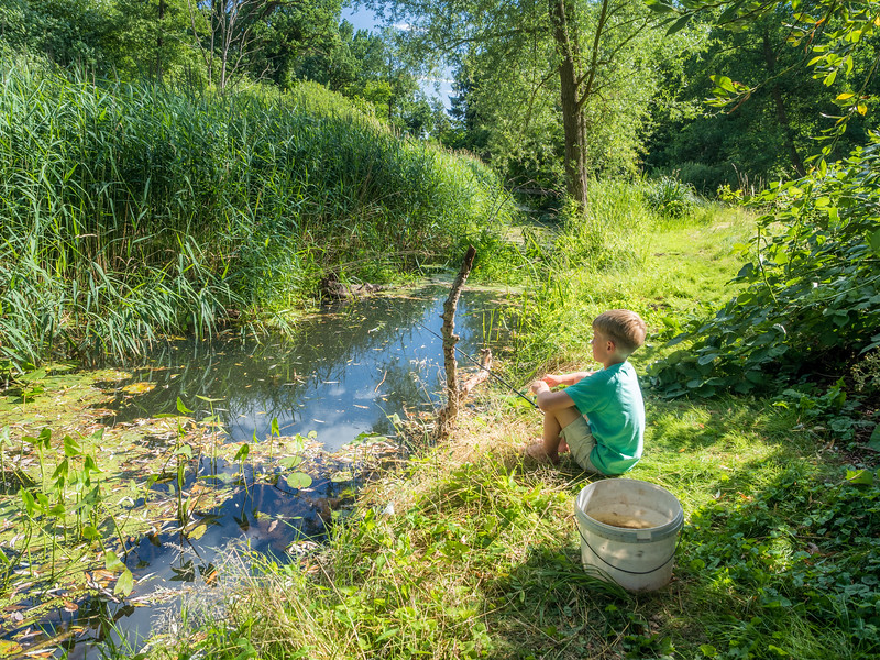 Fishing in the Müllbach, Lüssow, Germany