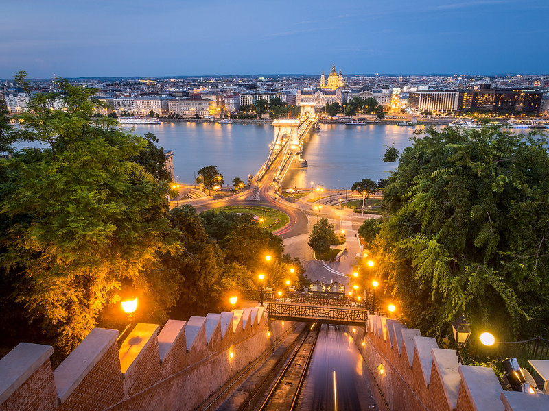 Evening on the Buda Castle Funicular, Budapest, Hungary