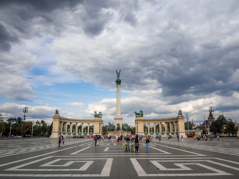 Dramatic Sky over Heroe's Square, Budapest, Hungary