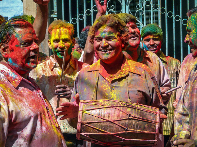 Singers and Drummer, Holi, Jodhpur, India