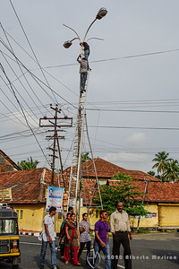 fixing a street light