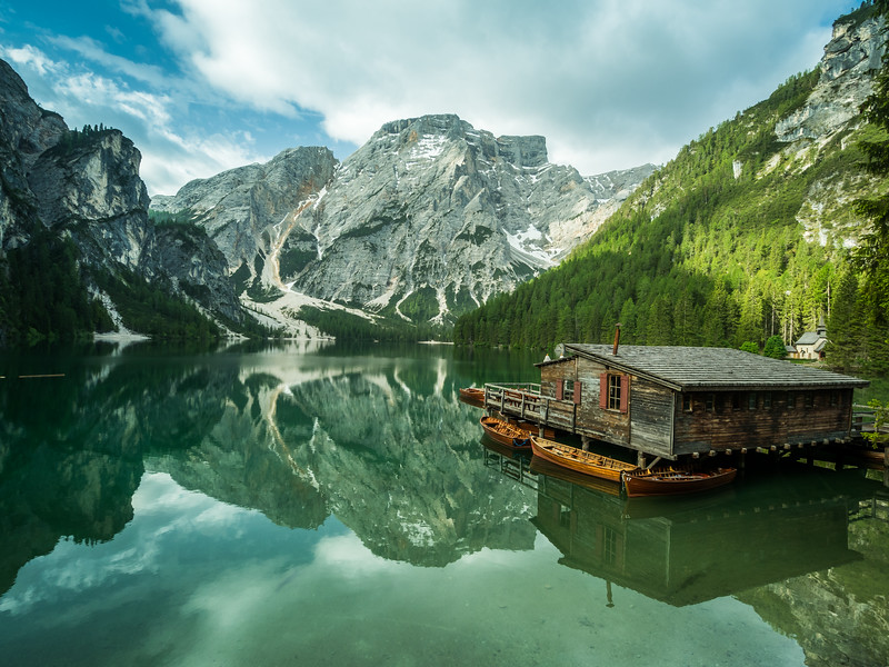 Boathouse on the Lake, Pragser Wildsee, Italy