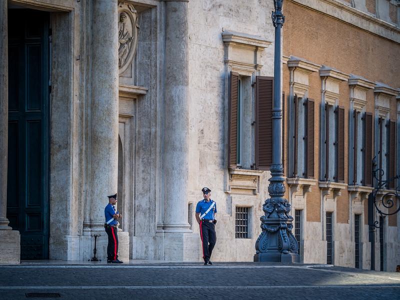 Guards outside the Palazzo Montecitorino, Rome, Italy