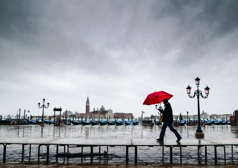 Red in Rain, Venice, Italy