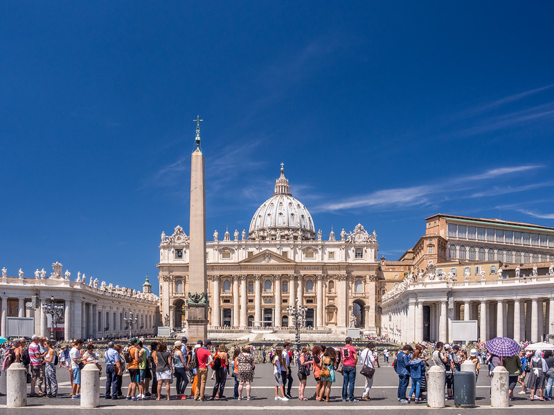 Visitors Waiting at St Peter's Basilica, Vatican City
