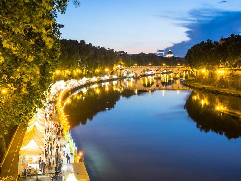 Night along the Tiber, Trastevere, Rome, Italy