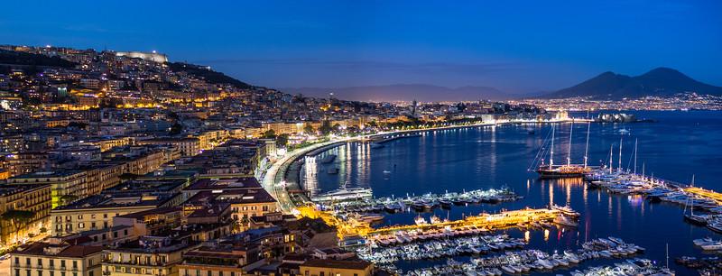 Harbor Night Panorama, Naples, Italy