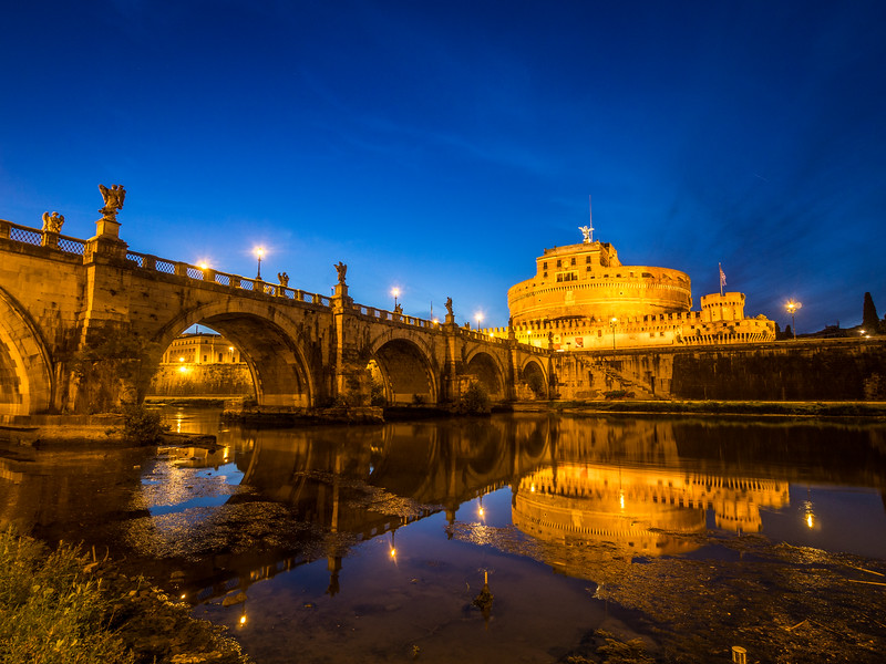 Castel Sant'Angelo Reflected in the Tiber, Rome, Italy