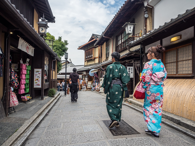 Kimonos on the Street, Kyoto, Japan