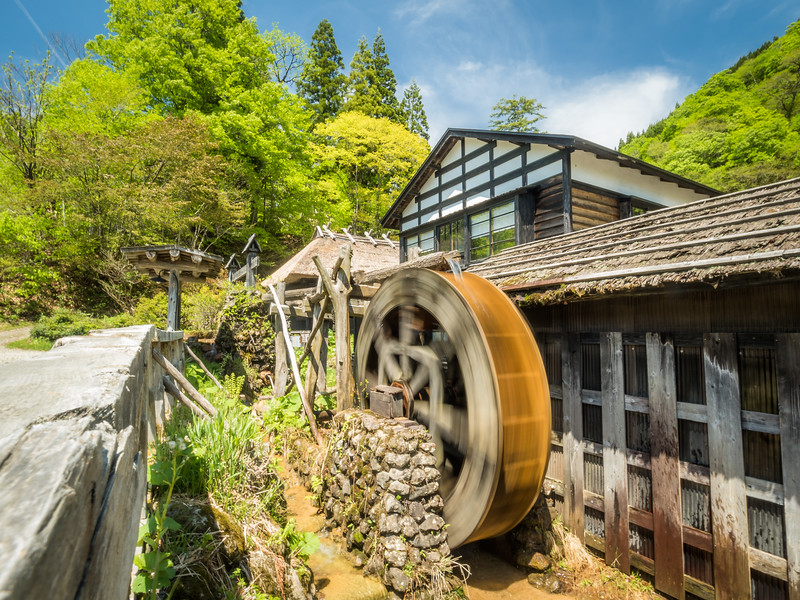 Water Wheel at Nyuto Onsen, Japan