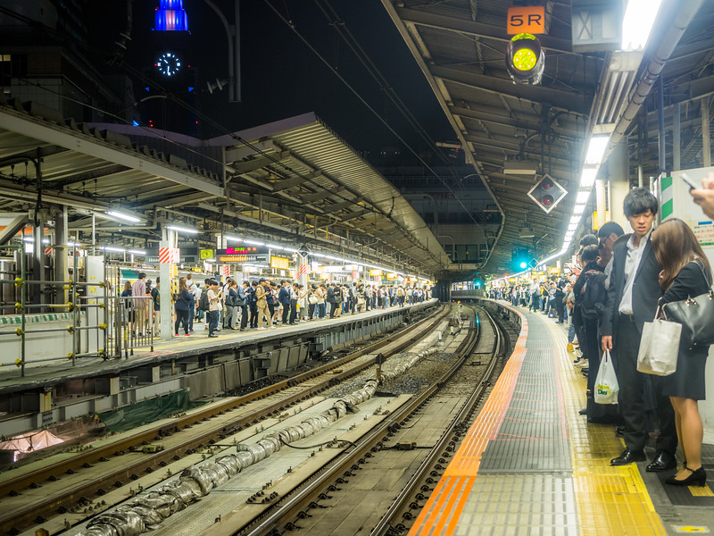 Waiting for the Train, Tokyo, Japan