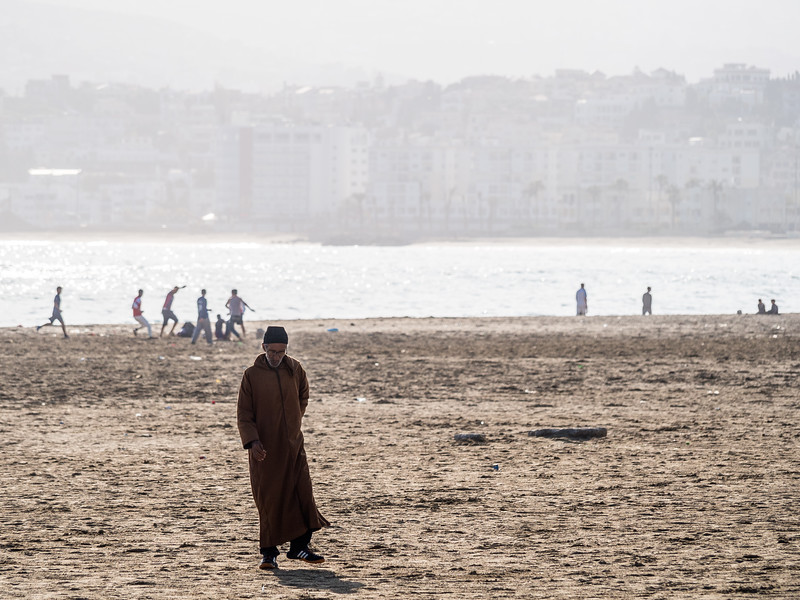 Old Man and the Beach, Tangiers, Morocco