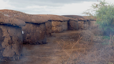 Masai Mud and dung houses.