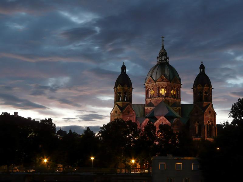St. Lukaskirche at Dusk, Munich, Germany