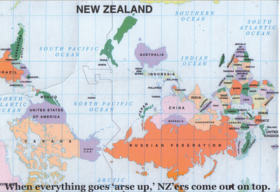 005_Upside down map of the World, When everything goes arse-up, NZ'ers come out on top
