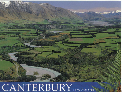 398_Canterbury Plains  The greatest expanse of flat land in NZ  Beyond, the Southern Alps