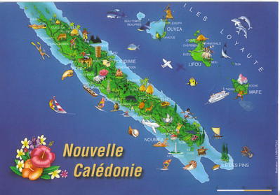 002_New Caledonia Map  Surrounded by a Coral Reef of 1,600 km long